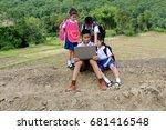 go to school little poor asian... | Shutterstock . vector #681416548