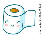 cute and funny toilet tissue... | Shutterstock .eps vector #681425149