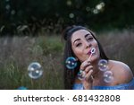 my friend blows bubbles during... | Shutterstock . vector #681432808