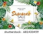 sale banner  poster with exotic ... | Shutterstock .eps vector #681433459