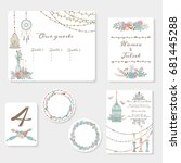 wedding invitation cards suite... | Shutterstock .eps vector #681445288