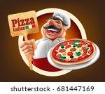 italian pizza illustration   Shutterstock .eps vector #681447169