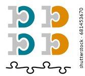 10 ten puzzle linked number... | Shutterstock .eps vector #681453670