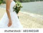 bride with bouquet of... | Shutterstock . vector #681460168