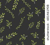 olive brunch seamless pattern.... | Shutterstock .eps vector #681461908