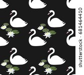 seamless pattern with white... | Shutterstock .eps vector #681464410