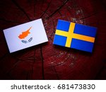cypriot flag with swedish flag... | Shutterstock . vector #681473830
