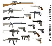 different automatic weapons.... | Shutterstock .eps vector #681480580