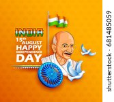 illustration of tricolor india...   Shutterstock .eps vector #681485059