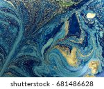 marbled blue and golden... | Shutterstock . vector #681486628