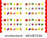 fruit berry vegetable icon set... | Shutterstock .eps vector #681487630