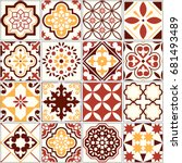 portuguese vector tiles  lisbon ... | Shutterstock .eps vector #681493489