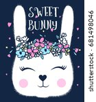 Sweet Bunny Print Design With...