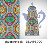 teapot with decorative ornament ... | Shutterstock .eps vector #681498700