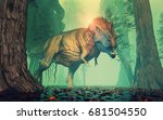 trex dinosaur in a mysterious... | Shutterstock . vector #681504550