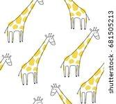 cute print with giraffe | Shutterstock .eps vector #681505213