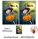 cute little witch girl jumping... | Shutterstock .eps vector #681506620