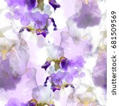 Stock photo flowering irises seamless pattern abstract watercolor and photo picture mixed media artwork for 681509569