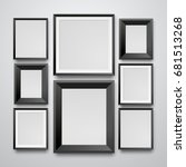 set realistic black frame on... | Shutterstock .eps vector #681513268