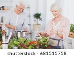 senior man and woman preparing... | Shutterstock . vector #681515758