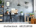 empty frames  potted plants and ... | Shutterstock . vector #681518938
