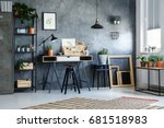 functional office interior with ... | Shutterstock . vector #681518983