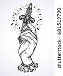 beautiful blackwork tattoo... | Shutterstock .eps vector #681519790