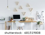 hipster interior with potted... | Shutterstock . vector #681519808
