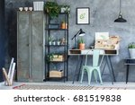 industrial study room with... | Shutterstock . vector #681519838