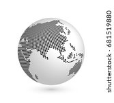 planet earth globe with black... | Shutterstock .eps vector #681519880