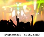 crowd with raised hands at... | Shutterstock . vector #681525280