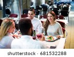 two smiling couples sitting at... | Shutterstock . vector #681532288