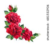 Stock photo red roses corner floral composition watercolor for wedding card 681532936