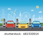 electric cars charging at the... | Shutterstock .eps vector #681533014