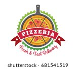fresh hot pizza delivery badge... | Shutterstock .eps vector #681541519
