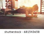 healthy women doing planking... | Shutterstock . vector #681543658