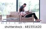 gay couple love home concept.... | Shutterstock . vector #681551620