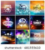 vector set of summer travel and ... | Shutterstock .eps vector #681555610