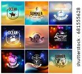 vector set of summer travel and ... | Shutterstock .eps vector #681555628