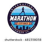 modern urban marathon badge logo   Shutterstock .eps vector #681558058