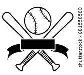 crossed baseball bats and ball... | Shutterstock .eps vector #681558580
