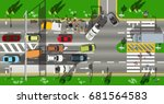 top view city scape traffic jam | Shutterstock .eps vector #681564583