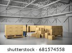 large trucking warehouse with... | Shutterstock . vector #681574558