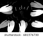 they clap their hands | Shutterstock .eps vector #681576730