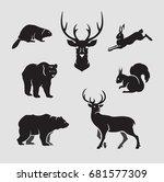 wild animals silhouettes set... | Shutterstock .eps vector #681577309