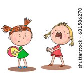 two little girls quarrel over a ... | Shutterstock .eps vector #681586270