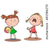 two little girls quarrel over a ... | Shutterstock .eps vector #681586270