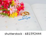 wedding note on a calendar sets ... | Shutterstock . vector #681592444