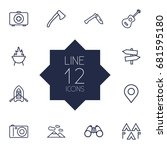 set of 12 camping outline icons ... | Shutterstock .eps vector #681595180