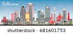 baltimore skyline with gray... | Shutterstock .eps vector #681601753